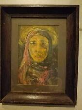"Oil Painting Original Artwork Vintage Glassed Wood Frame 11.5x14.5"""