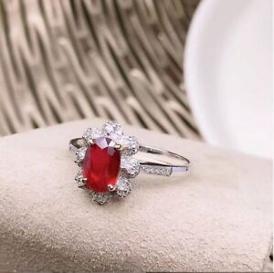 2Ct Oval Cut Red Ruby & Diamond Halo Engagement Ring In 14K White Gold Over