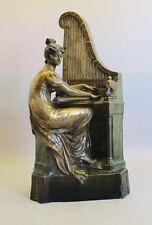 "Huge Antique 28"" Goldscheider Terracotta Figure of Woman w/ Organ Piano  c. 1900"