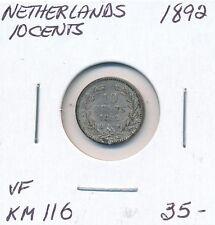 NETHERLANDS 10 CENTS 1892  KM 116  -  VF