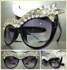 OVERSIZED VINTAGE CAT EYE Style SUN GLASSES Black & Gold Frame Clear Crystals