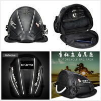 Motorcycle Carbon Fiber Style Luggage Tool Tail Bag Backpack w/Reflective Stripe
