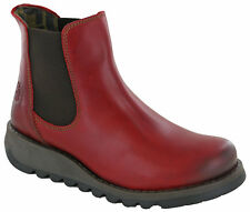 Womens Fly London Salv Rug Red Leather Flat Chelsea Ankle BOOTS Shu Size UK 8 / EU 41