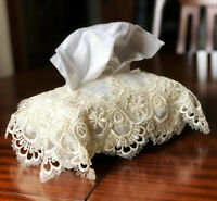 Vintage Golden Lace Crochet Tissue Box Cover Antique Ditsy Style Perfect Gift