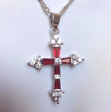 "C Red Garnet & Sim Diamond Cross & 18"" Chain Silver / White Gold GF BOXD Plum UK"