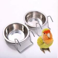 More details for stainless steel hang on bird cage bowls parrot food water feeding feeders 12cm