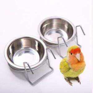 Stainless Steel Hang On Bird Cage Bowls Parrot Food Water Feeding Feeders 12CM