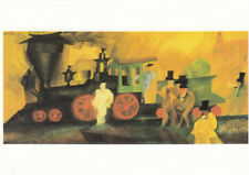 AK Drilled Lyonel Feininger Old Locomotive Oil on Canvas (G3496)