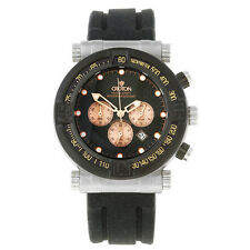 NEW CROTON CC311196BSRG MEN'S CHRONOGRAPH SPORT WATCH BLACK CARBON FIBER ROSE