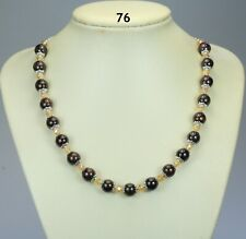"""Garnet brown stone bead necklace, honey yellow glass crystals, silver chain 20"""""""