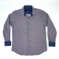 Bugatchi Shaped Fit Shirt Men's Size L Flip Cuff Long Sleeve Colorful Collared