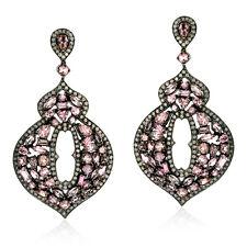 19.5ct Tourmaline Diamond Sterling Silver 18k Gold Dangle Earrings Jewelry