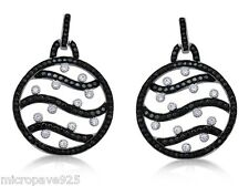 Beautiful Black And White Dangle Sterling Silver 925 Pave Set Cubic Zirconia