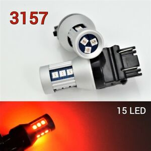 Front Signal T25 3057 3157 3457 4157 LED Red Bulb OSRAM 15 SMD B1 For Ford