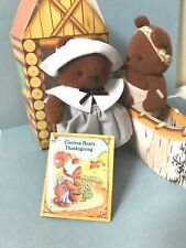 Vintage Hallmark Clarissa Bear's Brown Paw's Thanksgiving 1995 Stuffed Bear Set