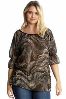 New Womens Plus Size Top Ladies Chiffon Gypsy Tunic Elastic Frill Shirt Nouvelle
