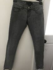 CRIMINAL DAMAGE MENS SUPER SKINNY GREY JEANS SIZE 28