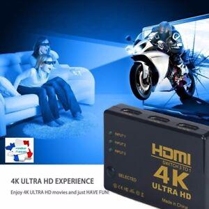 4K Commutateur HDMI HUB 1080p Switch Splitter 3D 3 Ports Full HD Répartiteur