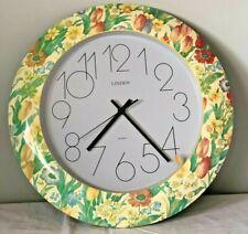 LINDEN QUARTZ WALL CLOCK Flower Motif Decor Vintage Brand New