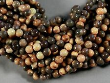 "FULL FLAVORED NATURAL MOCHA BROWN CAPPUCCINO JASPER 6MM ROUND BEADS 16"" STRAND"