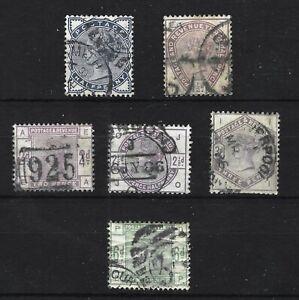 GB QV 1883-84 SG187-191 & SG194 - Cat £495