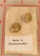 """2 Vintage Small Glass Shank Buttons Gold 4 Flower Design Czech 1/2"""" 13mm #79"""