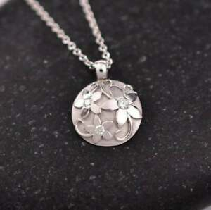Floral Engagement & Wedding Pendant Without Chain 14K White Gold 1.78 Ct Diamond