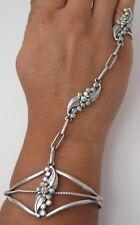Solid Sterling Silver Ornate Foliate Applique Slave Bracelet - Ring Size 4.25