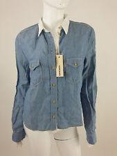 Diesel New Women's Soncy Denim Long Sleeve Shirt Size M Color Blue 100% Linen