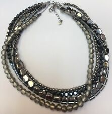 "Silpada SET S Silver ""Hailstone"" Glass & Hematite 5-strands Necklace  N1936 117g"