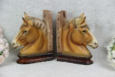 PAIR mid century Horse faience book ends retro 1970 equestrian