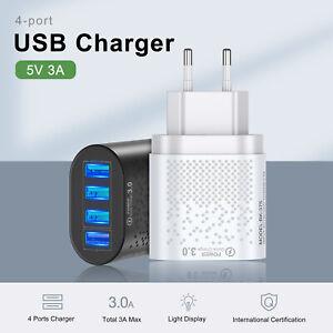 4 Multi-Port Quick Charge QC3.0 USB Hub Mains Wall Charger Adapter US EU Plug