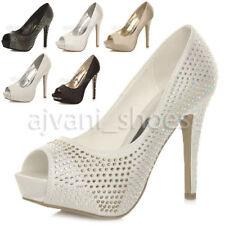 Donna tacco alto punta aperta sandal piattaforma scarpette décolleté matrimonio