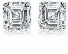 1.01 carat Asscher Cut Diamond 14k white gold Stud Earring D-E VS2 w/ GIA report