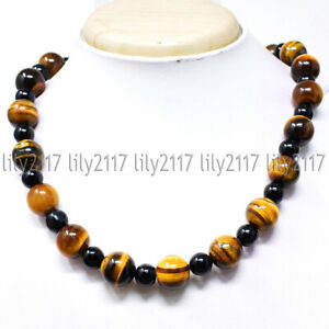 6mm Natural Black Agate & 10mm Yellow Tigers Eye Round Gems Beads Necklace 18''