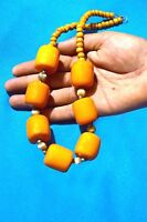 Banjara Tibetan Ethnic India Amber Look Resin Beads Tribal Rare Bold Necklace 11