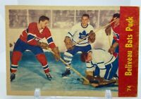 Jean Beliveau bats puck/Harry Lumley/Jean Beliveau 1955-56 Parkhurst #74 NHL HOF