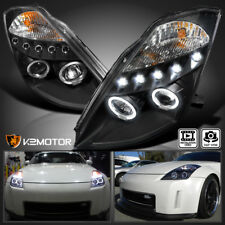 Jdm Black For 03 05 Nissan 350z Led Drl Halo Projector Headlights Left Right Fits 2004