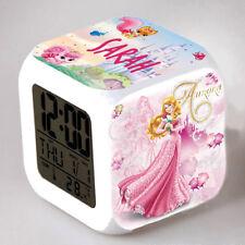 Reveil cube led lumière nuit clock princesse aurore  personnalisé prénom réf 34
