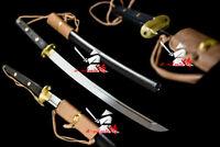 Battle Ready Quenched oil Spring Steel Full Tang Tactical wakizashi katana sword