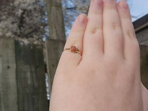 9ct Yellow Gold Coral Fancy Cocktail Ring - Size O