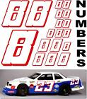 WHITE w/RED (#8's) Racing Numbers Decal Sticker Sheet 1/8-1/10-1/12 RC NISSANKIA