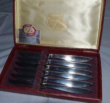 Vintage Ashton Stainless Steel Steak Knives With Case. Set of 6.