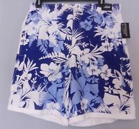 Roundtree & Yorke MEN'S Swim TRUNKS Pocket Nautical Blue Floral Polyester L NWT*