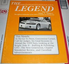 THE LEGEND MAY 1999 GTO ASSOCIATION OF AMERRICA
