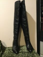 Guess Rumela Black Leather Over Knee Tall Hall Heel Boots 7