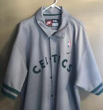 Nike NBA Boston Celtics Snap Button Men's Grey Warm Up Shirt 3XL