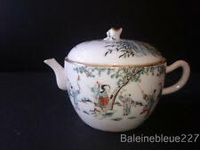 Chinese antique famille rose porcelain teapot handpainted decor people gardening