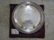 Wm Rogers  TUPPERWARE ROSE  Silver Plated Serving Tray  With Bag
