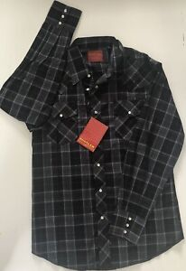 Rustler Medium Western Shirt Snap Pearl Button Front X Long Tails Black Gray New